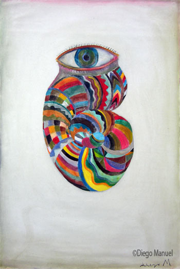 """caracol que mira "", acrylic on canvas, 65 x 45 cm year 2005."